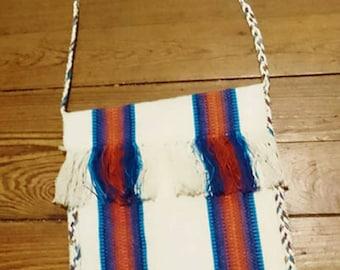 Flat bag handcrafted 33/30 cm blue white orange