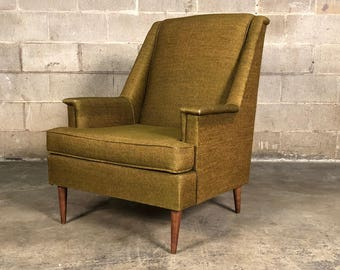 Vintage Green Tweed Mid Century Modern Lounge Chair / Style Of Selig    SHIPPING NOT