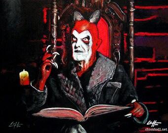 """Drucken Sie 8 x 10""""- Lucifer - Devils Carnvial Repo der Genitic Oper Terrance Zdunich Satan musikalische Gott Bill Moseley rot Hell Himmel Pop Art"""