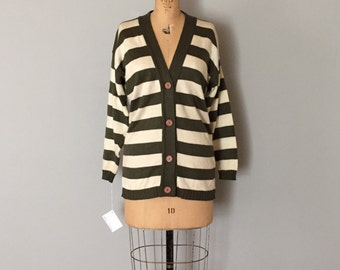OLIVE STRIPES cardigan | olive and cream striped cardigan | 90s long cardigan