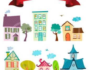 Colorful Cartoon Houses Kitchen Home Decor Digital Clip Art Embellishments Printable Clipart Instant Download Commercial Use
