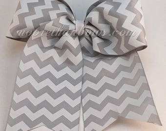 Gray And White Chevron Cheer Bow