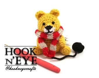 Amigurumi Lioness Pattern wearing Gryffindor Inspired Scarf, Crochet Pattern Only, Amigurumi Doll, Harry Potter, Hogwarts House, Big Cat