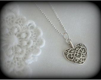 Sterling Silver Heart Necklace, Sterling Silver Heart Pendant, Filigree Heart, Vintage Style Heart Necklace