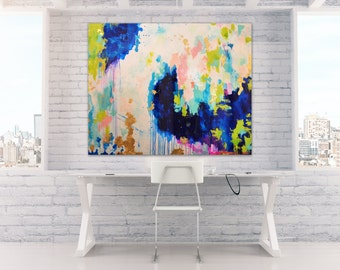 "Sold! Acrylic Abstract Art Large Canvas Painting Blue, Peach, Gold, Pastel, Ombre Glitter with Glass and Resin Coat 36"" x 48"" real gold leaf"