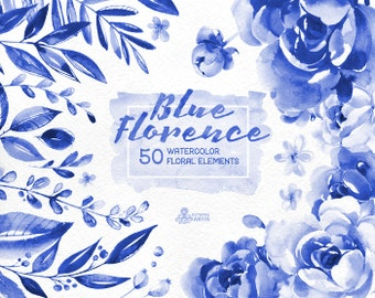 Blue Florence. 50 Watercolor floral Elements, clipart, peonies, floral wedding invite, greeting card, diy clip art, delft blue, christmas