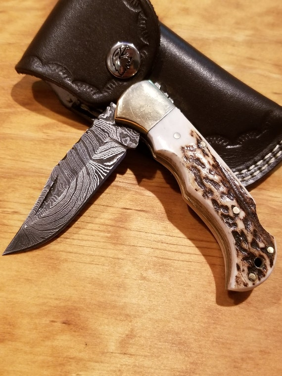 Handmade Deer Antler Folding Pocket Knife Damascus Blade Stag Collection With Leather Sheath Outdoors Premium (K77)
