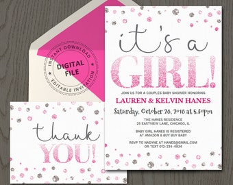 Art party invitation card template printable kids painting girl baby shower invite template its a girl diy invitations printable ideas fuchsia stopboris Images
