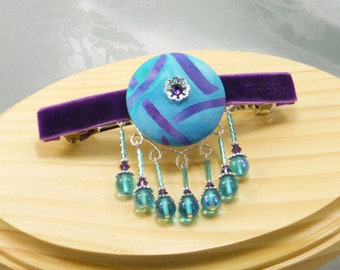 Beaded barrette purple and turquoise, 4 inch hair clip, hair jewelry