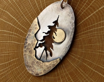 Pine Tree Necklace Mixed Metal Nature Pendant Super Moon Pendant Eco Friendly Jewelry Gifts for Her Rustic Jewelry Stocking Stuffer On Sale
