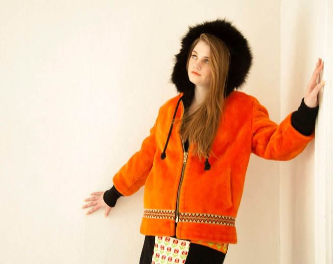 Vintage orange hooded coat, black faux fur, short geometric chevron winter jacket, boho retro 1970s M L