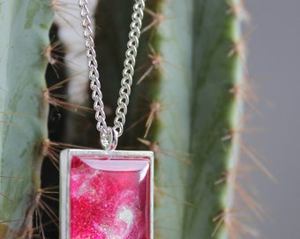 Pink, Swirl Patterned Necklace, Pendant, Silver Plated