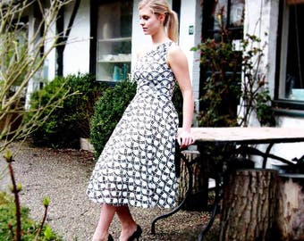 SALES One shoulder black white dress/ midi dress/ evening wear/ tulle midi dress/ prom dress/ swing dress/ one shoulder tea length dress