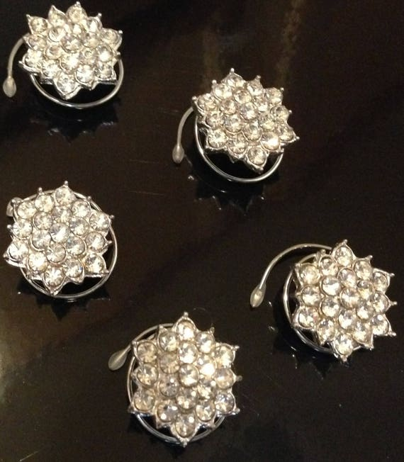 Snowflake Hair Swirls-Crystal Clear-Silver Tone Setting Bridal Party-Maid of Honor-Winter Wedding