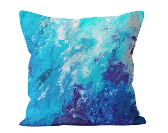 Blue Throw Pillow - Blue And White Marbled Decorative Square Throw Pillow Scatter Cushion in Turquoise Blue & White