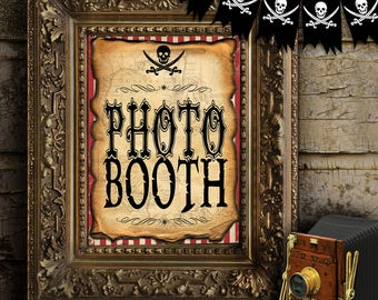 Pirate Photo Booth Party Sign - INSTANT DOWNLOAD - Printable Birthday Party Decorations, Decor Poster by Sassaby Parties