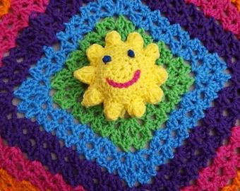 Crochet Sunshine, yoda, batman or owl baby lovey blankets