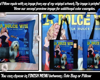 Bearded Collie Pillow/Bearded Collie Tote Bag/Bearded Collie Portrait/Dog Tote Bag/Dog Pillow/Custom Dog Portrait/La Dolce Vita Movie Poster