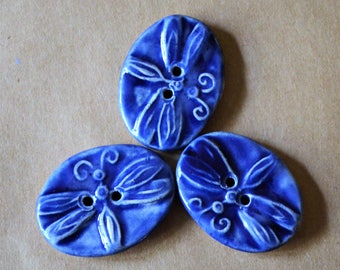 3 Bold Handmade Ceramic Dragonfly Buttons - Bold Blue Stoneware Dragonflies - Artisan Buttons for Christmas Gift - Knitting Supplies