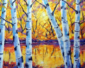 Birch Tree Large Painting Morning Sparkle Birches created by Prankearts