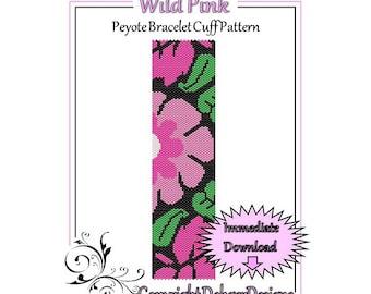 Bead Pattern Peyote(Bracelet Cuff)-Wild Pink