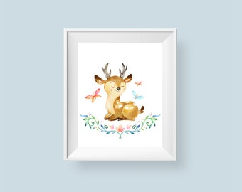 Woodland Nursery Decor Deer Print, Butterfly Watercolor Floral Printable Wall Art, Boys or Girls Art 8x10 11x14 Instant Digital Download