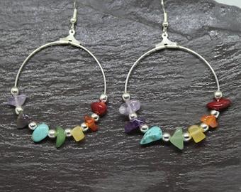 Chakra hoop earrings, chakra earrings, hoop earrings, chakra jewelry, rainbow earrings, yoga earrings, gemstone earrings, boho earrings.