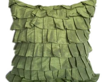 Light Green Ruffles Pillow Cover Ruffle Euro Sham Covers Solid Green Textured Pillow 14x14 16x16 18x18 20x20 22x22 24x24 26x26