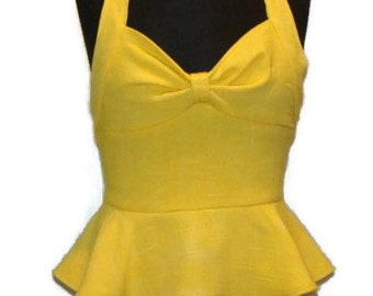 OOAK Vintage Inspired Yellow Halter Top Peplum Tops For Women Yellow Tops For Women Mustard Yellow Peplum Top Halter Top Shirts