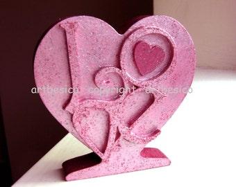 Wood letters Love freesstanding heart,  Heart of Love, pink heart, glitter finished