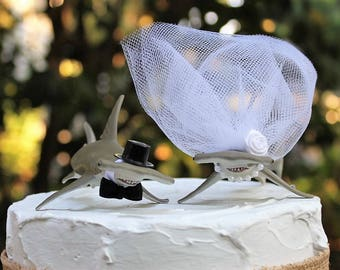 Shark Wedding Cake Topper, HammerHead Shark Cake Topper, Beach Wedding Cake Topper, Animal Cake Topper, Sea Life Bride and Groom,