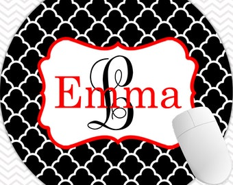 Round Mouse Pad Monogrammed Gifts Personalized Mousepad Computer Accessories Custom Desk Coworker Gifts Office Gifts