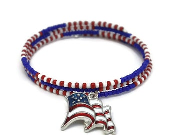 US Flag Bracelet - Patriotic Jewelry - Stackable Beaded Bracelets with Charms - Stacking Bangles - Red White and Blue Jewelry - 4th of July