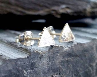 Silver Stud Earrings, silver triangle studs, small silver stud earrings, silver earrings handmade