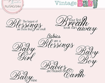 Vintage Baby - Word Art only Commercial use Card making Scrapbook Words * Printable, Instant Download