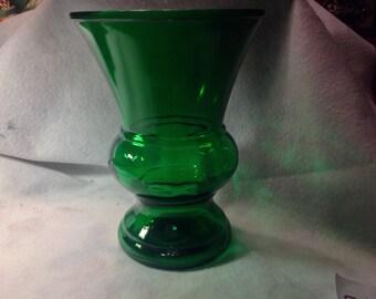 "Beautiful deep emerald green glass vintage bowl heavy glass 10 1/2"", top 7 1/2"""