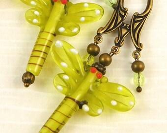 Fun Spring Green Dragonfly Dangle Earrings