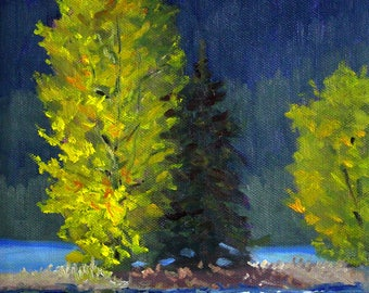 Trees, Northwest Landscape, Oil Painting, Original, 8x8 Canvas, Yellow, Blue, Green, Evergreen Trees, Lake, Forest, Olympic Peninsula