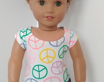 18 inch doll shirt. Fits like American girl. 18 inch doll clothing.  Peace shirt.