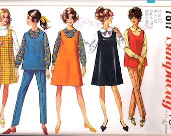 """Vintage 1968 Simplicity 7817 Maternity Jumper or Top & Pants Sewing Pattern Size 12 Bust 34"""""""