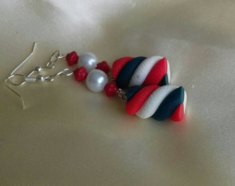 Earrings dangle fancy and patriotic. Free shipping