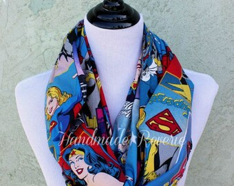 Girl Power Comic Infinity Circle Scarf - Wonder Woman, Supergirl, Batgirl