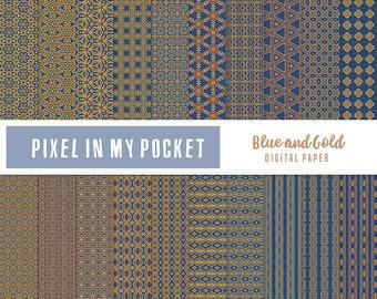 Blue & Gold Digital Patterned Paper Pack [Instant Download]