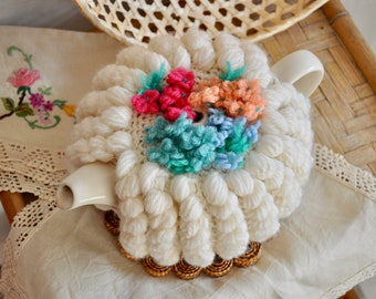Vintage knitted tea cosy, tea cozy, cozies, hand knit tea cosy, hand knit tea pot cosy, handmade, boho decor, Irish granny, retro, floral