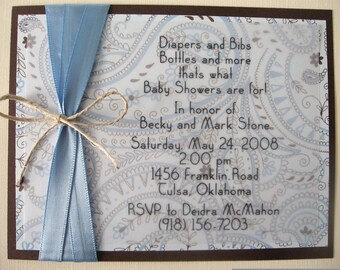 Blue and Chocolate Brown Paisley Baby - Boy Baby Shower Invitation Invite with Envelope - Only 14 Invitations Left