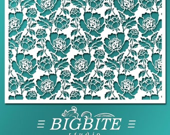 Shabby Chic STENCIL: Peony Flower Ornamental Pattern Wallpaper (Furniture & Wall Print Transfer) #082