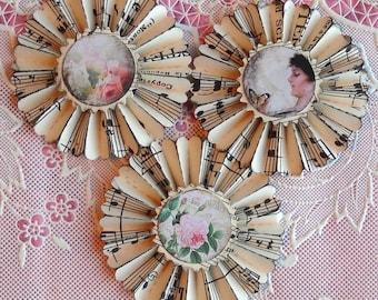 vintage music paper rosettes- The Garden- set of 3