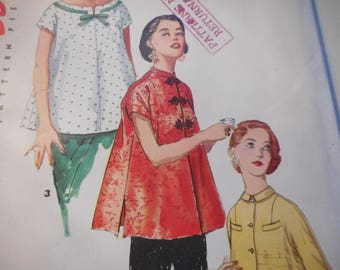 Vintage 1950's Simplicity 1552 Maternity Tops Sewing Pattern Size 16 Bust 34