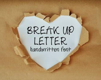 Break Up Letter hand-lettered font