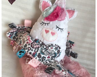 Handmade Little Unicorn Rattle and Squeaker With Matching Security Tag Blanket  - Nursery Rainbow Heart - Cuddle, Stuffie, Softie, Plush